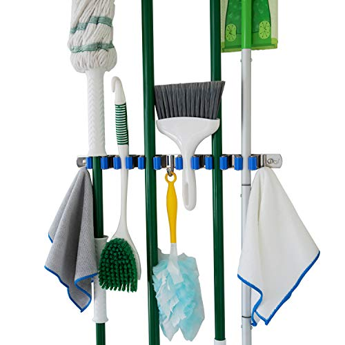 Broom and Mop Holder Wall Mounted 6 Grip Kitchen Organization and Storage Broom Holder Laundry Room Organizer Mop and Broom Holder Garage Organization Broom Holder Wall Mount Hooks N Holders