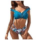 Traje de baño de dos piezas para mujer, sexy, bikini push-up, cintura alta, cruzado, parte superior y parte inferior de bikini, cuello en V, deportivo, 2 piezas A19 XL