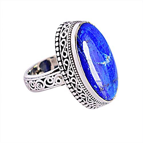 Ravishing Impressions Jewellery Mujer Unisex 0.925 plata de ley ovalada Blue Lapis Lazuli