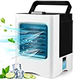 Portable Air Conditioner, Mini Air Cooler, Personal Evaporative Air Conditioner Fan, New Misting Fan with 1 USB Cable, 7 Colors LED Light for Home, Office and Room
