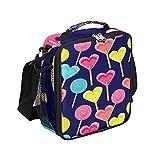 MOMOYU Sweet Love - Bolsa de almuerzo aislada con forma de corazón, bolsa de almuerzo con asa de hombro para la escuela, oficina, picnic, senderismo, playa, pesca