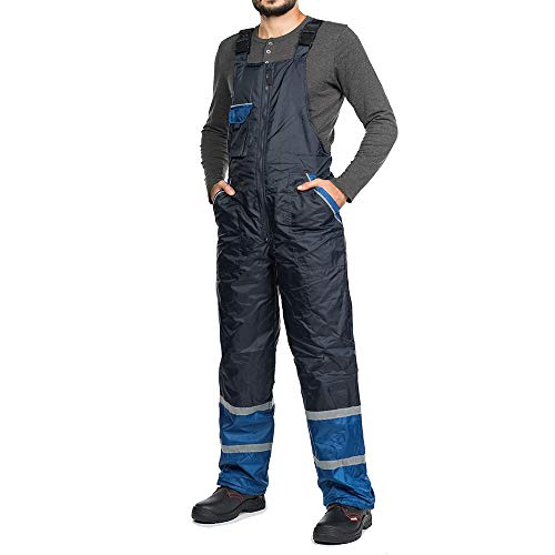 Mazalat Werkbroek voor mannen, gevoerd, winddicht en waterdicht met reflecterende strepen, thermobroek, werkbroek