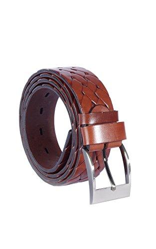 Cinturón tejido de cuero trenzado para hombres - Cafe chocolate – Cuero de vegetal bronceado de calidad genuina - 4 cm de ancho - Hecho a mano en Europa - Varias longitudes (120 cm)