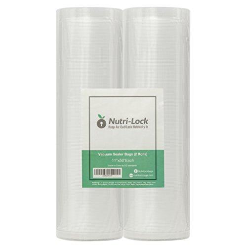 Nutri-Lock Vacuum Sealer Bags 2 Rolls 11x50 Commercial Grade Food Saver Bags Rolls Nutri-lock Bags Work with Foodsaver Perfect for Sous Vide