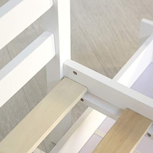 Homestyle4u Funktionsbett Holzbett Kinderbett Jugendbett 90×200 weiß Bettkasten Einzelbett - 4
