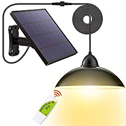 Solar Lights,LOZAYI Solar Lights Outdoor,IP65 Waterproof 16.4Ft Cord Remote Control Led Outdoor Lights Pendant Light with 270°Wide Adjustable Solar Panel for Home Yard Garden Decorate-Warm White