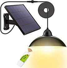 Solar Lights Outdoor-Security Powered-Pendant Led-IP65 - Porch Light with 16.4Ft Cord Remote Control 270°Wide Adjustable Solar Panel for Home Yard Patio Decorate-Warm White