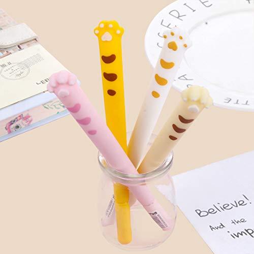 Bolígrafos de gel de tinta negra, accesorios de oficina con pata de gato de dibujos animados bonitos para mujeres, papelería Pastel, regalos para niñas, escritura a mano