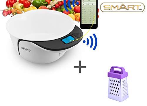 SMART Healthy Scales bundel met gratis kaasrasp die u kunt gebruiken om grammen en voeding te meten - digitale keukenweegschalen met kom en app - de ultieme elektrische voedselschaal voor fitness SHSAP3000 Zwart & Wit
