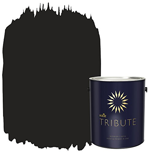 KILZ TRIBUTE Interior Satin Paint and Primer in One, 1 Gallon, Deep Onyx (TB-40)