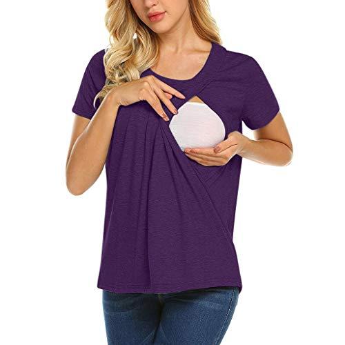 Double Couche Allaitement T-Shirt,Yesmile Vêtements Grossesse Et Maternité Mode Comfort Grossesse Tops (XXL, violet)
