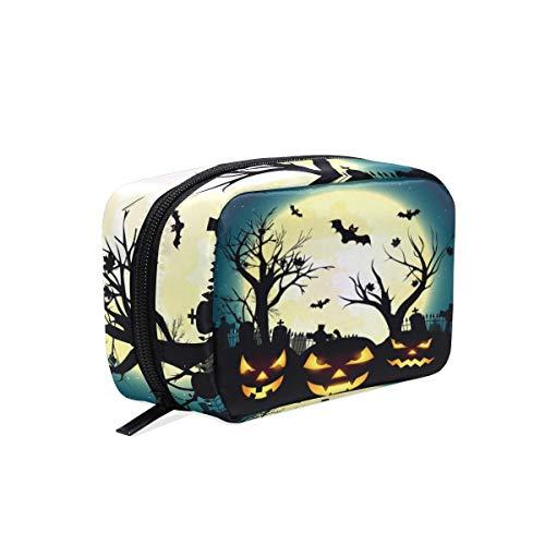 Mnsruu Trousse de maquillage portable pour Halloween Motif lune chauve-souris et arbre