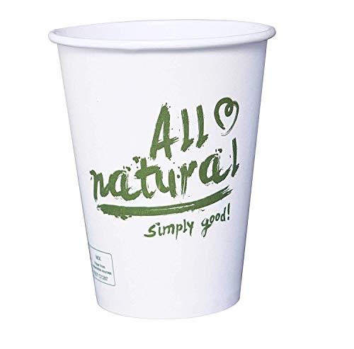 Gastro-Bedarf-Gutheil 50 Bio Kaffeebecher Cafe to go 300ml 12 oz Kompostierbares und biologisch abbaubar Einweg weiß Heissgetränkebecher Tee Pappbecher