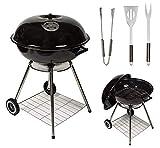 MYLEK Barbecue à Charbon de Bois Portable avec Couvercle et 3 ustensiles de Cuisine – 55,9 cm