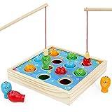 Symiu Jeu de Peche Magnetique Enfant Jouet Puzzle Montessori Jeux Éducatifs Jeu en Bois pour Fille Garçon 3 4 5 6 Ans