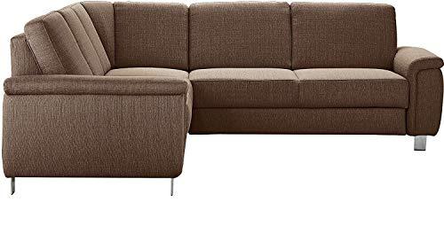 Cavadore Ecksofa Bryste mit Federkern, Polstergarnitur im modernen Design, 241 x 88 x 220, Strukturstoff Braun, ohne Bett, kurze Seite links