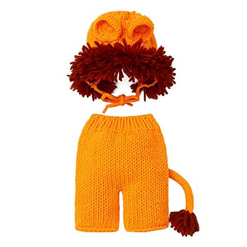 FYMNSI Recién nacido, bebé, niña, niño, sesión de fotos, disfraz de conejo, accesorios para fotografía, bonito conejo, gorro + pantalones cortos + zanahoria, 3 piezas, león, 0-3 Meses
