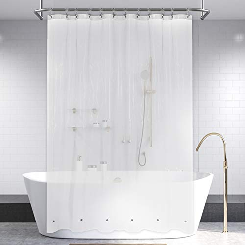 Shower Curtain Liner with 6 Magnets & 3 Suction Cups with Clip - Waterproof Plastic Shower Liner for Bathroom - PEVA, 72x72 Inches, Clear