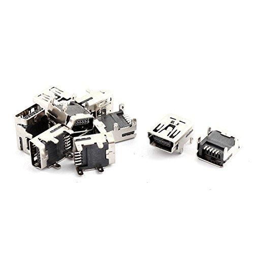 DealMux 10 Piezas de Mini USB Tipo B Enchufe Hembra de 5 Pines Adaptador de Conector Jack