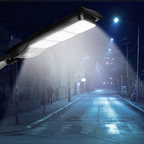 GOTOTP Farola Solar de 180 LED de Seguridad con Control Remoto Impermeable IP65 5500K Focos LED Exterior Solar de Pared con Sensor Crepuscular 90W