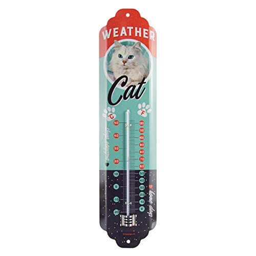 Nostalgic-Art Analoges Retro Thermometer Weather Cat – Geschenk-Idee für Katzen-Besitzer, aus Metall, Vintage-Design zur Dekoration, 6,5 x 28 cm