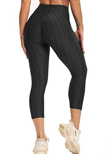 FITTOO Mallas 3/4 Leggings Capris Mujer Pantalones Yoga Alta Cintura Elásticos Super Suave #1 Negro S