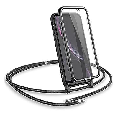 "SURITCH Funda con Cuerda para iPhone XR, Carcasa TPU Silicona Case con Protector de Pantalla con Colgante Ajustable Collar Correa de Cuello Cordón con iPhone XR 6,1""(Negro)"