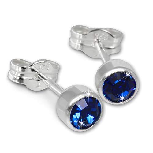 SilberDream Ohrringe 5mm für Damen 925 Silber Ohrstecker Zirkonia blau SDO503B