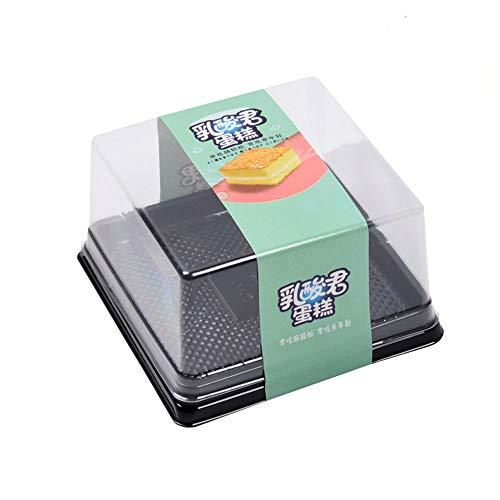 Caja para tartas, 50 juegos de moldes para tartas, cajas de plástico transparente para mini pastelería, caja para magdalenas, caja de magdalenas, 9,9 x 9,9 x 5,8 cm (negro)