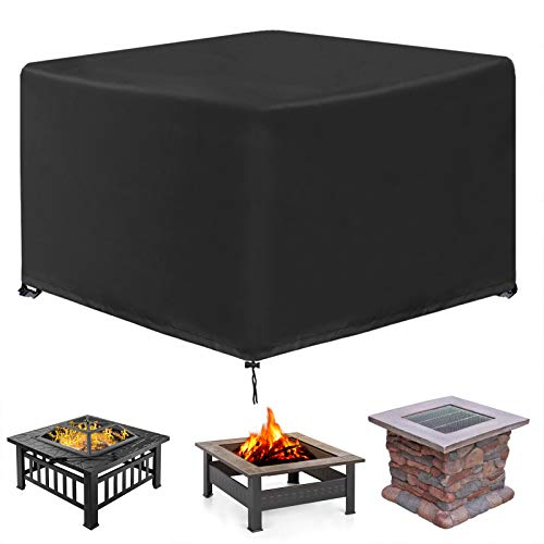 """INMUA Firepit Cover Square, Heavy Duty Outdoor Gas Fire Pit Cover, Waterproof Cover for Fire Pit Square, Windproof, UV Resistance (32""""L x 32""""W x 20""""H, Black)"""