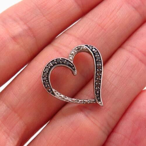 925 Sterling JWBR Kay Jewelers White & Black Diamond Open Heart Slide Pendant Halloween & Christmas Gift