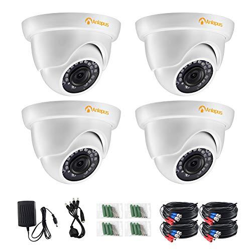 Anlapus 4pcs 1080P Cámara de Vigilancia Exterior Domo Cámara de Seguridad, 20M Visión Nocturna, Blanco