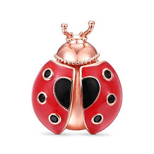 GNOCE Ladybug Charms Perla Plata De Ley 18K Chapado En Oro Rosa Cuentas De Cabeza De Animal Charm Fit Pulsera/Collar Regalo De Navidad Para Mujeres Niñas