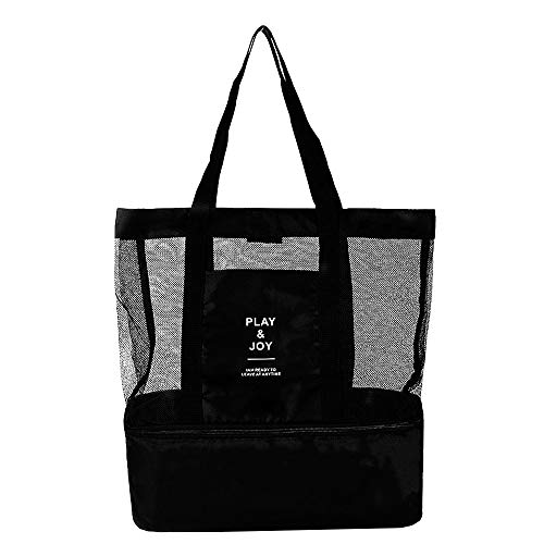 Mesh Beach Bag with Cooler Insulated Lightweight and Foldable with Durable Zipper Picnic Tote Bags for Beach Swimming Pool Camping (Black)
