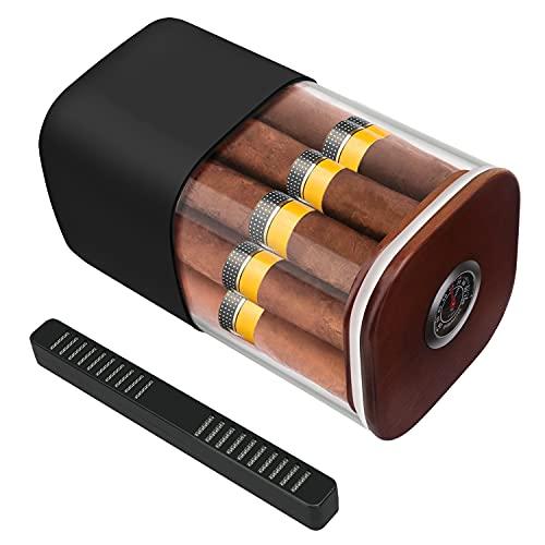 XIFEI Cigar Humidor, Cigar Glass Jar with Humidifier and Hygrometer, Cigar Jar Contain with Cedar Wood, Humidor That can Hold About 12-18 Cigars, Cigar Humidor Jar(Black)