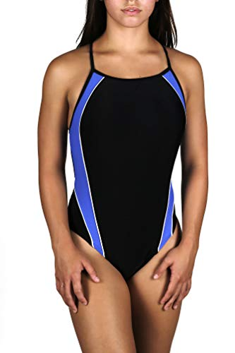 Adoretex Girls/Womens Thin Strap Splice Swimwear (FN013U) - Black/Navy - 24