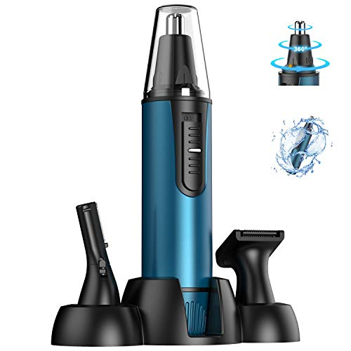 [2020 Latest] Painless Nose Hair Trimmer for Men and Women Professional Narsal Clippers and Trimmers Eyebrow Facial Ear Hair Epilator Removal,Battery-Operated, IPX7 Waterproof