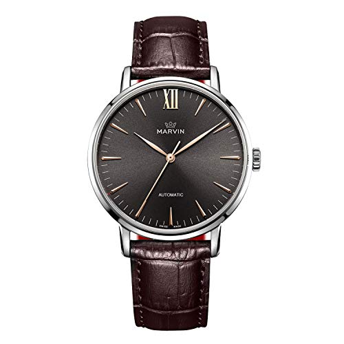 Swiss Made Marvin Automatic Men Watches with Rose-Gold PVD Case and Siver Black Sunray Dial