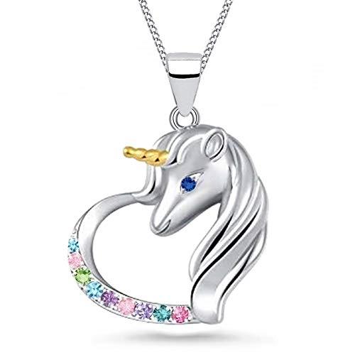 FÜR DICH Einhorn Micro Pavé Zirkonia Herz Pferd 925 echt Silber Mädchen Kinder Anhänger mit Kette (Multicolor, 38)