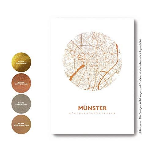 Münster Wandbild Stadtposter Stadtplan Rund - Wähle aus Rose Gold Silber Kupfer - A4 A3, Personaliserte City Map Einweihungsgeschenk Dekoration Wand-Deko Wohnzimmer Andenken Heimatstadt