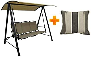 Mainstay Patio Canopy Porch Swing Outdoor 3-Person Sling in Black/Brown w/OutdoorLinen Stripe Toss Pillow 18 x 18 in. Set of 2 - Bundle Set