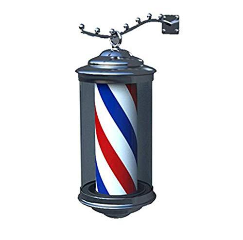 JUNWEN LED Barber Pole Light Peluquería Peluquería Signo de peluquería Retro Retro Poste Iluminación Rotativo Rojo Rojo Rayas Azul Lámpara Montada de Pared Impermeable 28 cm y 38cm / 28cm / 11in