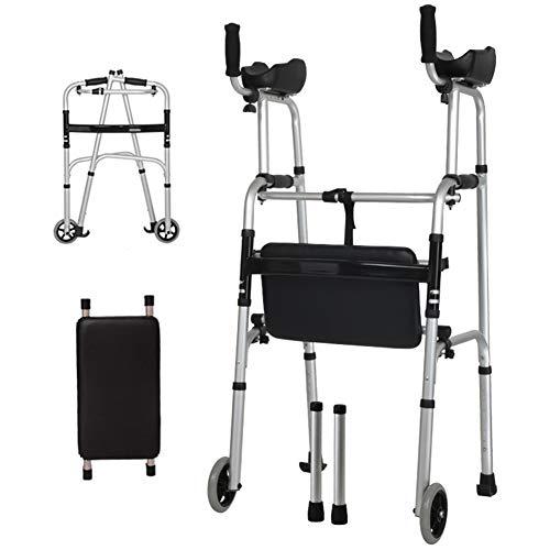 Aluminium opvouwbaar wandelframe, rollator met armsteun, wandelbare mobiliteitssteun, onderste ledemaattreiner, zware rollator met zitplaats