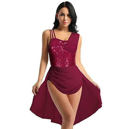 IEFIEL Vestido Ballet Mujer Lentejuelas Gasa Maillot de Danza con Falda Sexy Disfraz de Bailarina Ballet Chica Leotardo Gimnasia Vestido Lentejuelas Salsa Tango Latn Rojo M