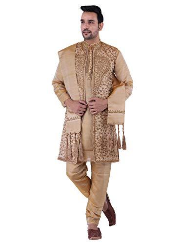 HUZUR Men's Silk Shervani Kurta Pyjama Jacket and Stole Party Dress Set