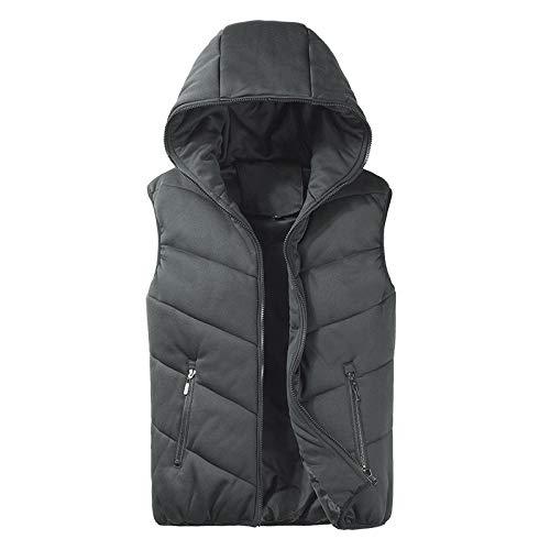Chaleco sin mangas para hombre, para otoño e invierno, de moda, para hombre, sin mangas, con capucha, chaleco para hombre, talla 5XL Gris oscuro XXL