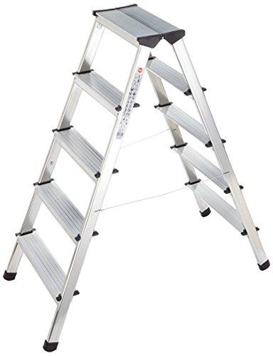 Hailo 600275000 Escalera de aluminio con 2x5 peldaños y cables de acero de refuerzo