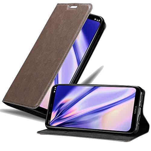 Cadorabo Hülle für Nokia 8.1 in Kaffee BRAUN - Handyhülle mit Magnetverschluss, Standfunktion & Kartenfach - Hülle Cover Schutzhülle Etui Tasche Book Klapp Style