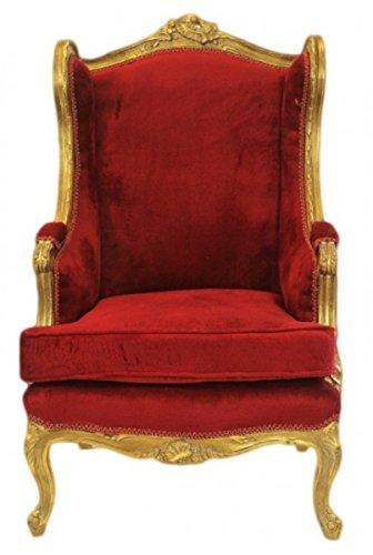Casa Padrino Barock Lounge Thron Sessel Bordeaux Rot/Gold - Antik Stil Ohrensessel