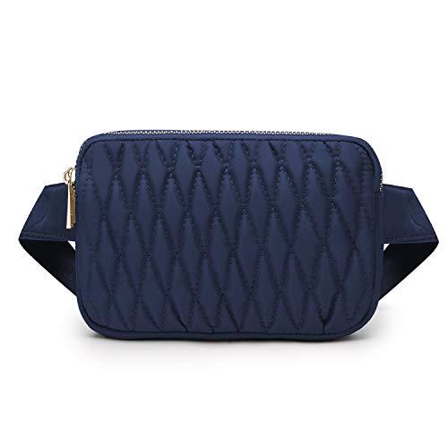 Wind Took Mini Riñonera Mujer Riñonera Deportiva Impermeable Riñonera Moda Bolsa de Cintura con Correa Ajustable para Viaje Trabajo Fiesta 18x4x12cm Azul